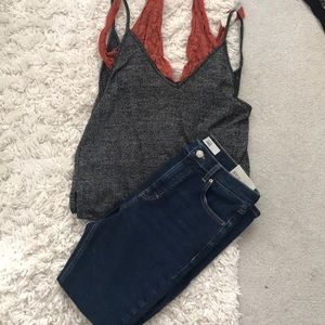 Urban Outfitters Grey V neck Tank